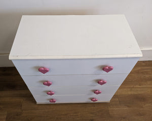 Modern 4 Drawer Chest Of Drawers With 'Heart' Handles, White -160421-23