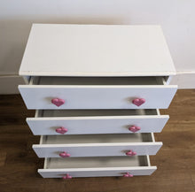 Load image into Gallery viewer, Modern 4 Drawer Chest Of Drawers With 'Heart' Handles, White -160421-23