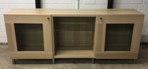 Large Wide Modern Wood & Glass TV/Media Unit With Glass Shelves - 260221-01