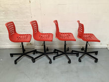Load image into Gallery viewer, Set of 4 Ikea SKALBERG / SPORREN Swivel Chairs - Red
