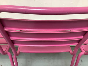 Set of 4 Metal Outdoor Stack-able Chairs With Slats - Pink, Aluminum