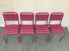Load image into Gallery viewer, Set of 4 Metal Outdoor Stack-able Chairs With Slats - Pink, Aluminum