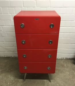 BelAir Lacquered 4 Drawer Chest of Drawer & Desk Set, Red - 140121-08/-09