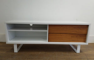Contemporary TV Stand/Media Unit With 2 Push-Pull Drawers, White & Walnut - 300421-06