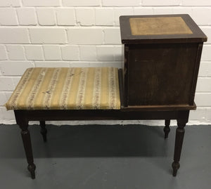 Vintage Antique Telephone Bench Seat With Storage  - 183244