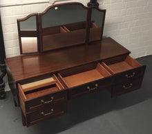 Load image into Gallery viewer, Vintage Retro Kneehole Dressing Table/Desk With Triple Mirror - 185727