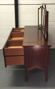 Vintage Retro Kneehole Dressing Table/Desk With Triple Mirror - 185727