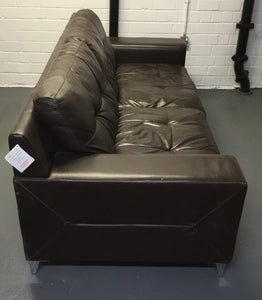 Modern 3 Seater Leather Sofa, Dark Brown/Chrome - 185743
