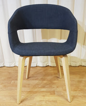 Load image into Gallery viewer, Navy Blue Fabric Desk Chair Wooden Legs