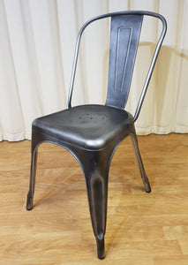Distressed Finish Grey Metal Chair