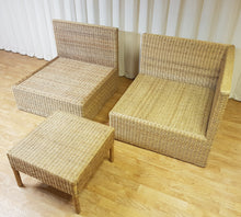 Load image into Gallery viewer, Rattan Wicker Three Piece Lounge Set Rattan Sofa Conservatory Garden