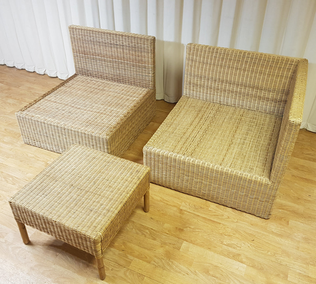 Rattan Wicker Three Piece Lounge Set Rattan Sofa Conservatory Garden