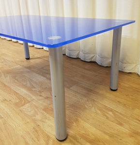 Blue Glass Coffee Table - Detachable Metal Legs