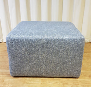 Large Square Blue Grey Fabric Seat Footrest Pouffe