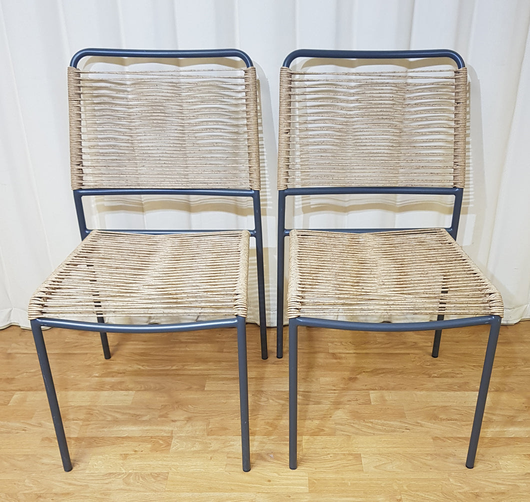 Stacking Garden Chairs Blue & Flecked Beige - Set of Two