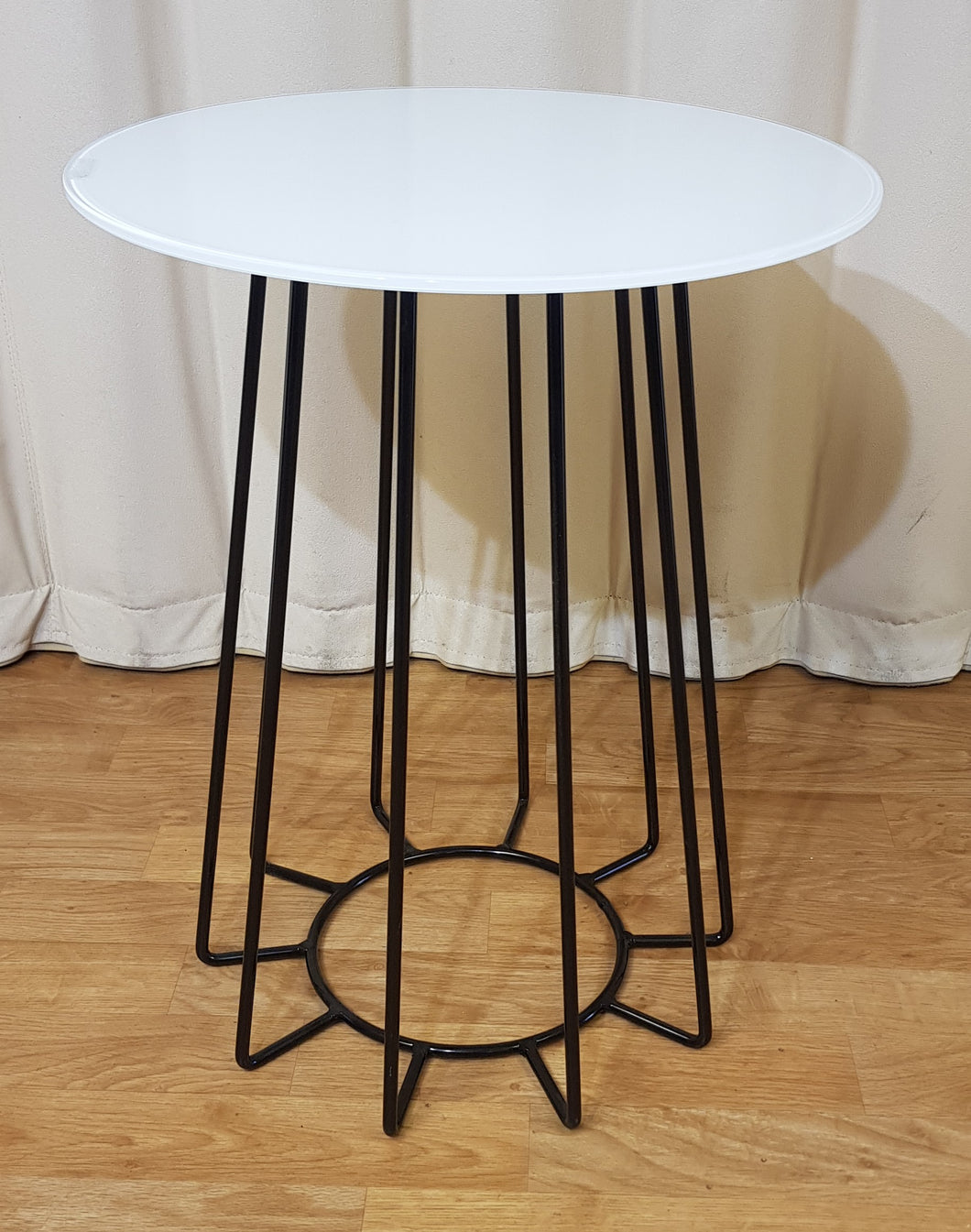 Flecked White Marble Stone Top Side Table Black Metal Wire Base