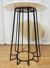 Load image into Gallery viewer, Flecked White Marble Stone Top Side Table Black Metal Wire Base