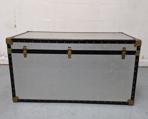 Vintage-Style Steamer Storage Trunk, Silver Alloy - 290321-09