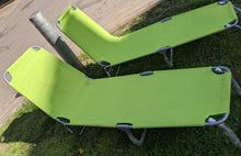Load image into Gallery viewer, 2 x vidaXL Folding Sun Lounger/Portable Recliner, Lime - 184081/184082