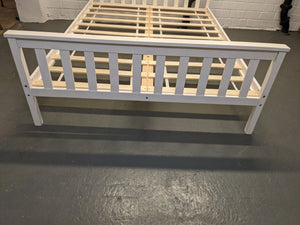 Double Wood Bed Frame With Slatted Headboard & Base, White - 260421-01