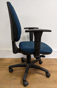 High-Back Operator Chair With Height Adjustable Arms, Blue - 290421-03