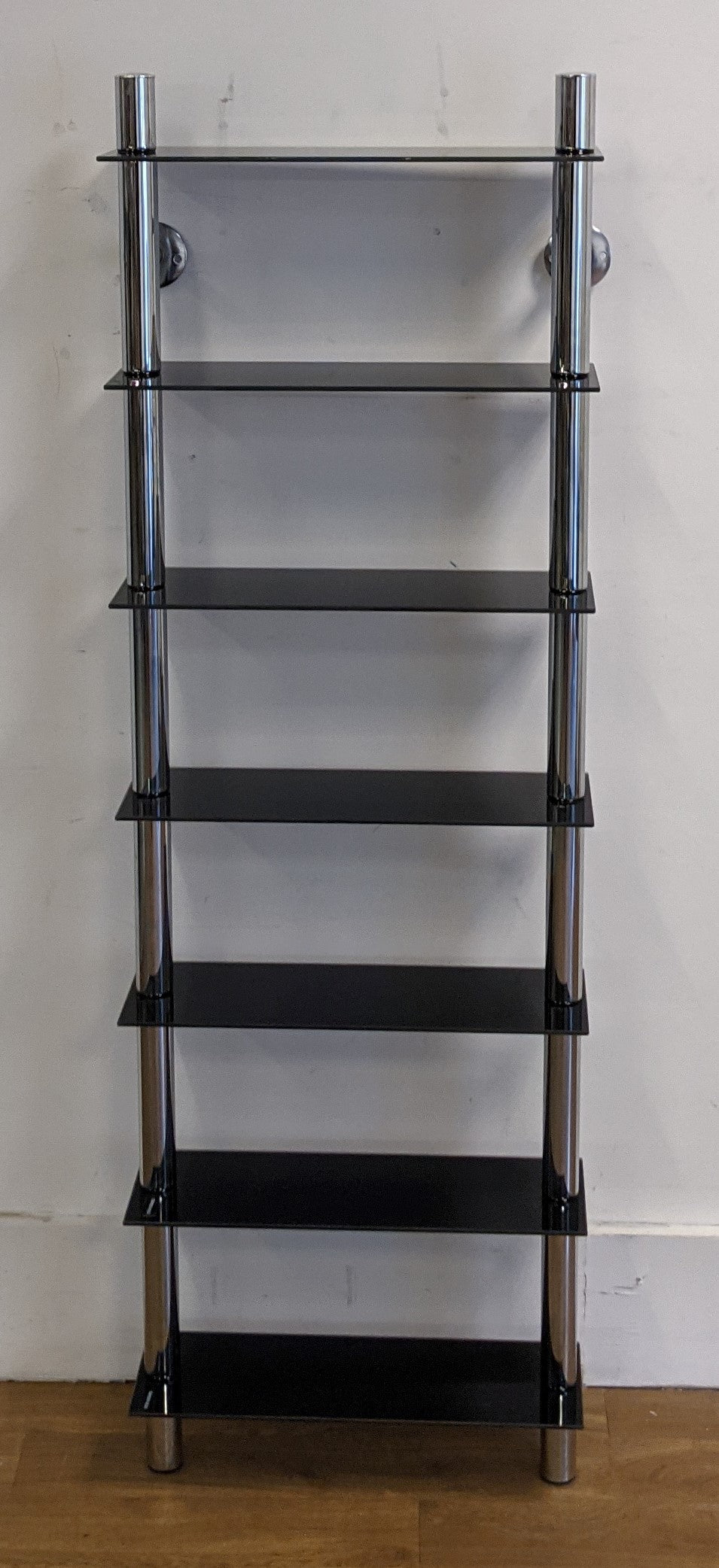 Ladder Shelving With 7 Tempered Glass Shelves, Wall Mounted - 010521-08
