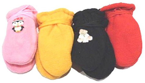 Set of Four Pairs Magic Stretch Mittens for Ages 3-12 Months