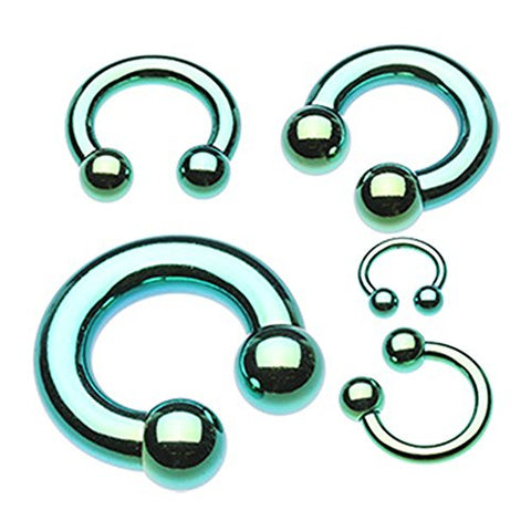 Sold Individually 14G Green Colorline PVD Basic Gem Ball Barbell Inspiration Dezigns Tongue Ring