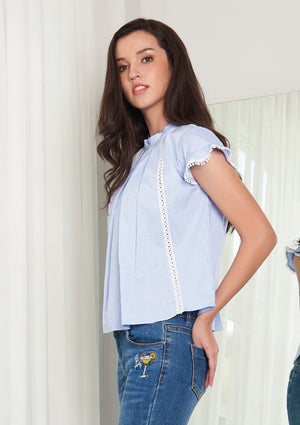 Load image into Gallery viewer, Ohayo เสื้อแขนระบายแต่งลูกไม้ | Ruffle Sleeve Blouse with Lace Tape (5167224651916)
