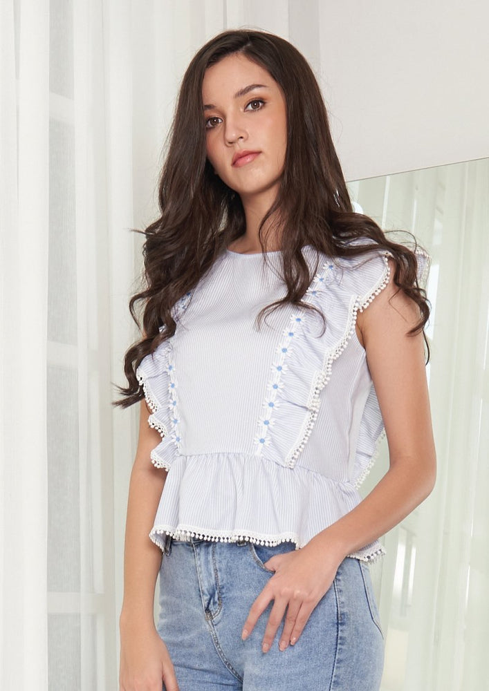 Ohayo เสื้อระบายแต่งเทปลูกไม้ | Ruffle Blouse with Lace Tape