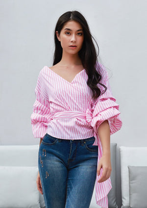 Load image into Gallery viewer, Ohayo เสื้อลายริ้วผูกโบว์แขนระบาย | Striped Rustic knotted Blouse with Ruffle Sleeves (5164449988748)