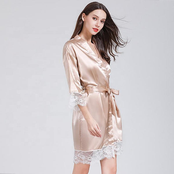Short satin Robes nude - The Bridal House