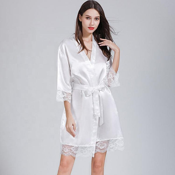 Short satin Robes white- The Bridal House