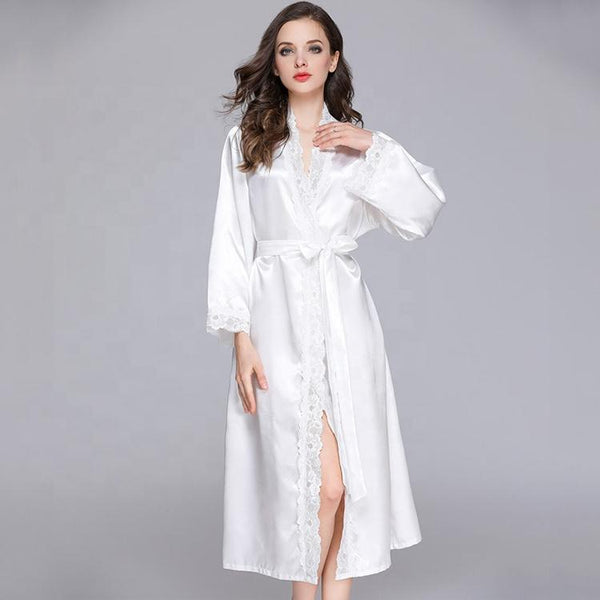 Long Satin Robes White - The Bridal House