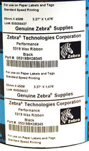 Zebra 5319 Wax Ribbon 3.27 Inch Wide Wax Ribbon 05319BK08345