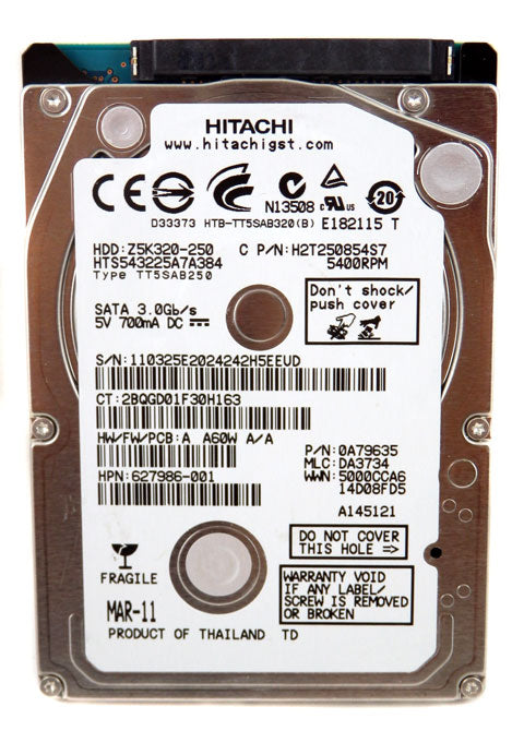 Hitachi 250GB 5400RPM SATA Laptop Hard Drive HTS543225A7A384