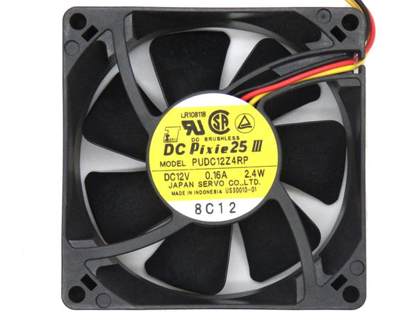 Pixie 25 III 80mm DC 12V 0.16A Fan With 3 Wires PUDC12Z4RP