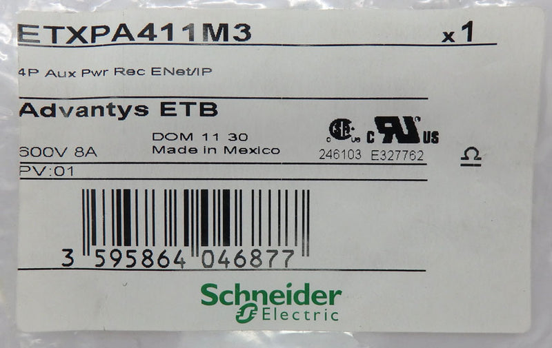 Schneider Electric Advantys ETB 4-Pin Auxiliary Power Receptable for ENET/IP ETXPA411M3