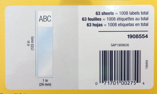 "Dymo XTL 1"" x 4"" Laminated Wire / Cable Wrap Sheet Labels 1008-Labels 1908554"