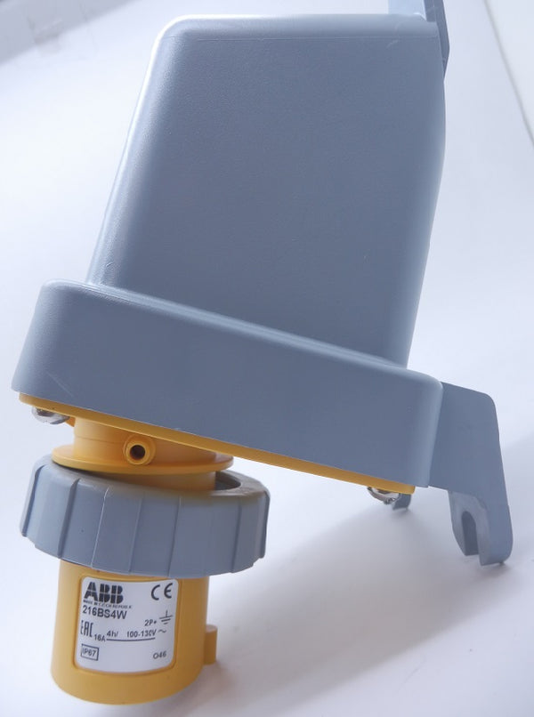 ABB Tough and Safe IP67 Yellow Panel Mount 2P+E Industrial Power Plug 216BS4W