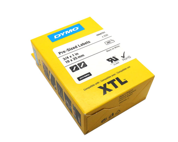 "10 Pack of Dymo XTL 3/4"" x 1"" Pre-Sized Black on White Labels 1868701"