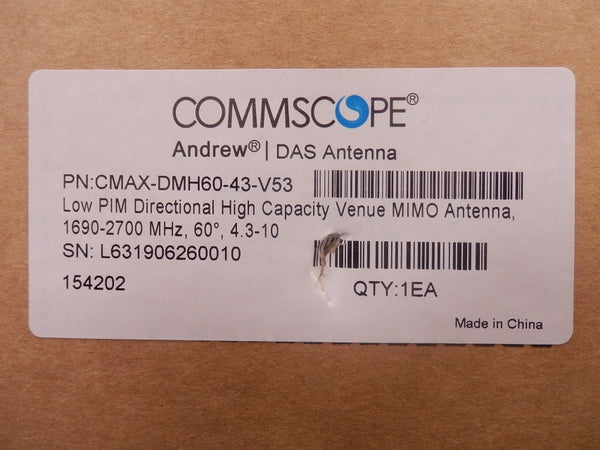 Commscope Low PIM Directional High Capacity Venue MIMO Antenna CMAX-DMH60-43-V53
