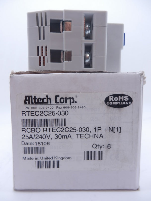 Techna RTEC 110V/230V 50/60Hz 30mA Double Pole Circuit Breaker RTEC2C25-030