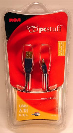 RCA 6 Foot USB A to Mini B 2.0 1.1 Male to Male Cable PC2107