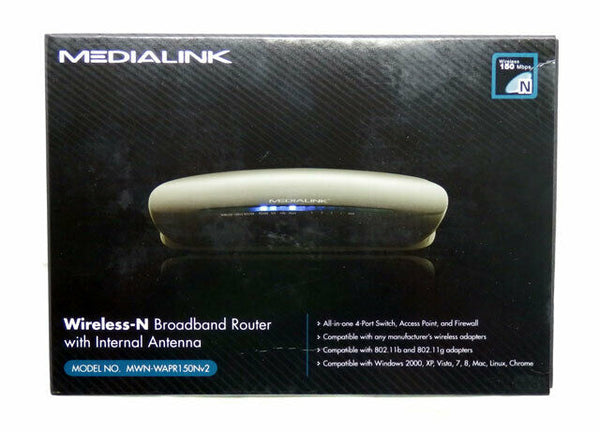 NEW Medialink Wireless-N Broadband Router 150 Mbps 802.11b/g/n MWN-WAPR150Nv2