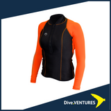 Sharkskin Performance Wear Long Sleeve Female Black and Orange | Dive.VENTURES