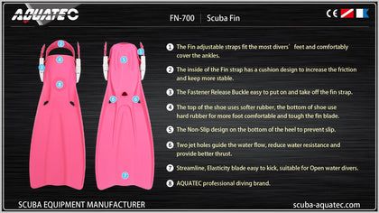 Aquatec FN-700S Double Hole Drainage Diving Flipper - Pink S