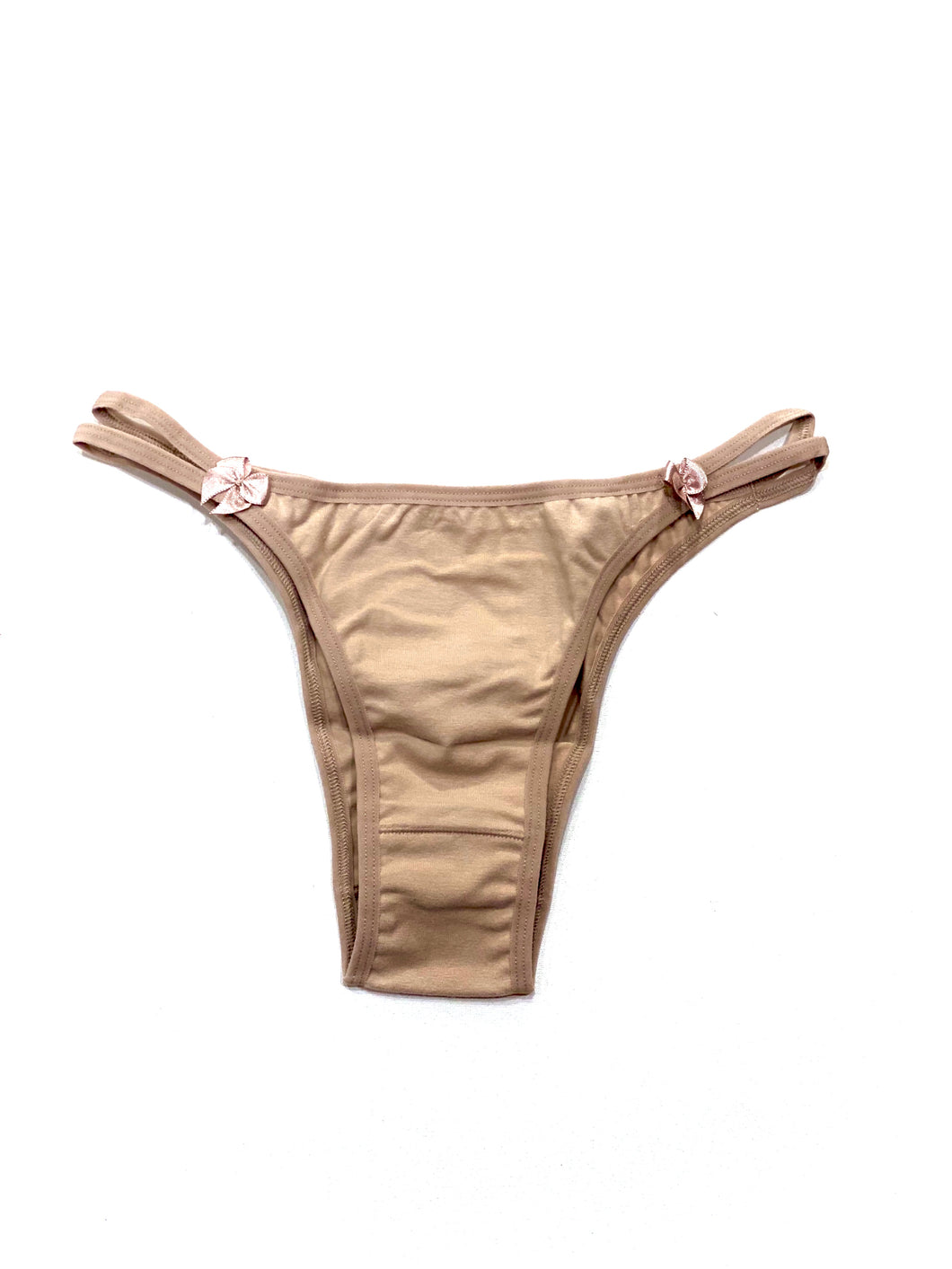 Beige Tanga - Basic cotton with satin bow detail