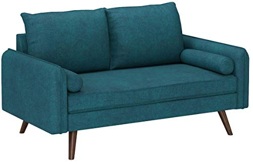 Modway Revive Contemporary Modern Fabric Upholstered Loveseat In Teal