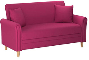Divano Roma Furniture Modern 2 Tone Small Space Linen Fabric Loveseat (Pink)